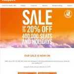 EasyJet 20% di sconto su 400000 posti e vacanze.